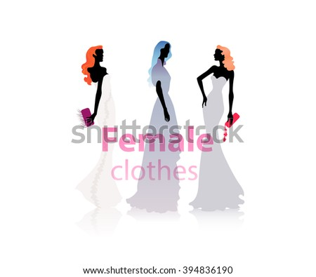 Group of female models dresses in fashion clothes with purchase - stock vector