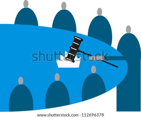 Group of figures seated around a table, standing figure bangs a gavel - stock vector