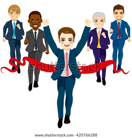Group of five business men running race competition with happy businessman winning the race breaking finish line success concept - stock vector