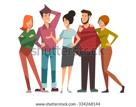 Group of five happy talking friends - stock vector