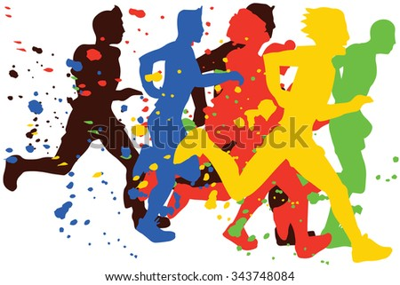 Group of flat man Marathon Runners,colors vector - stock vector