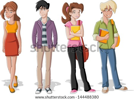 Group of four cartoon young people. Teenager students. - stock vector