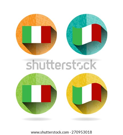 Group of four round, colorful signs with italian flag, white background - stock vector