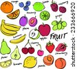 Group of fresh fruit doodle vector set - stock vector