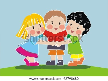group of friend children - stock vector