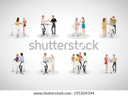 Group Of Friends At The Bar Table Set - Isolated On Gray Background - Vector Illustration, Graphic Design Editable For Your Design  - stock vector