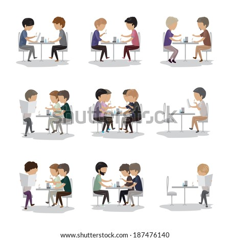 Group Of Friends In Cafe - Isolated On White Background - Vector Illustration, Graphic Design Editable For Your Design - stock vector