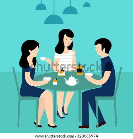 Group of friends in cafe. Vector Illustration. - stock vector