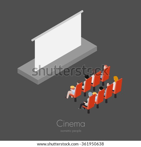 Group of friends people in the cinema watching film isometric vector illustration - stock vector
