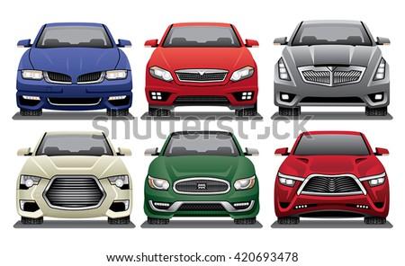 Group of Front Facing Luxury Sedan Vector Drawings - stock vector