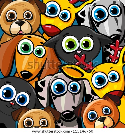 Group of funny animals - cats, dogs and deer - stock vector