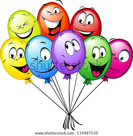 group of funny colorful balloons isolated on white background - stock vector