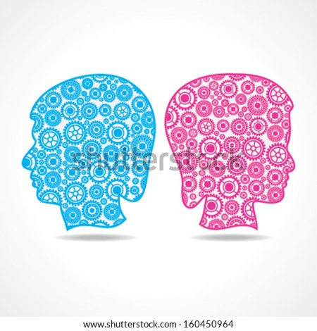 Group of gears make a male and female face stock vector - stock vector