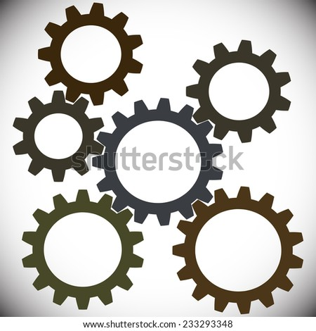 Group of gears with the same module, but different diameter and number of teeth. Vector illustation. - stock vector