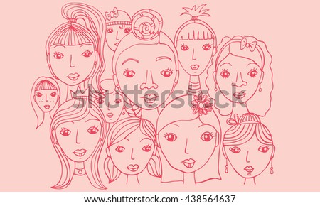 Group of Girls Faces Hand Drawn Illustration Vector  Vector illustration of various female faces in a group with different hairstyles and jewelery.