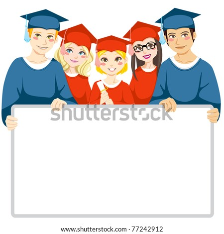 Group of graduated men and women holding a white board with copy space for text - stock vector