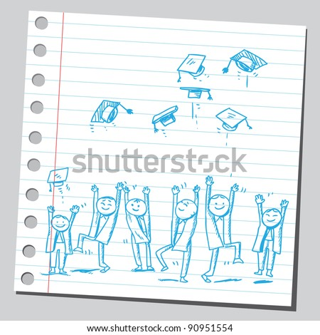 Group of graduates tossing caps - stock vector