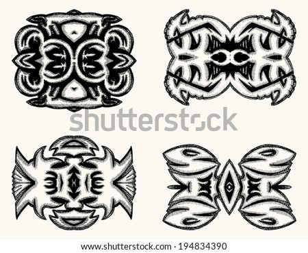 Group of Grunge ornament isolated  - stock vector