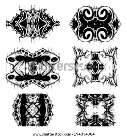Group of Grunge ornament isolated on white - stock vector