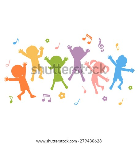 Group of hand drawn children silhouettes jumping - stock vector