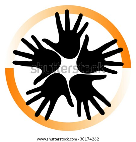 Group of hands vector.