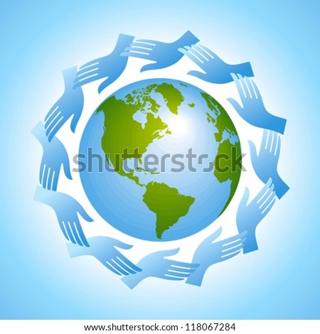 group of hands with globe - stock vector