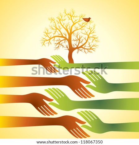 group of hands with tree