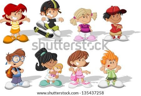 Group of happy cartoon children - stock vector