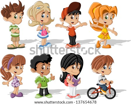 Group of happy cartoon children  - stock vector
