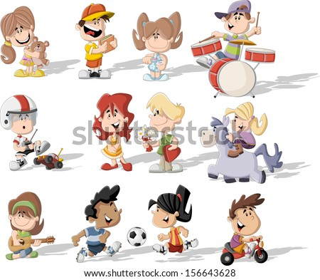 Group of happy cartoon children playing - stock vector