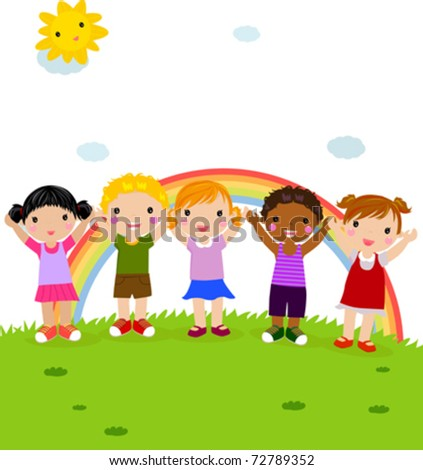 group of happy children in the park with rainbow - stock vector