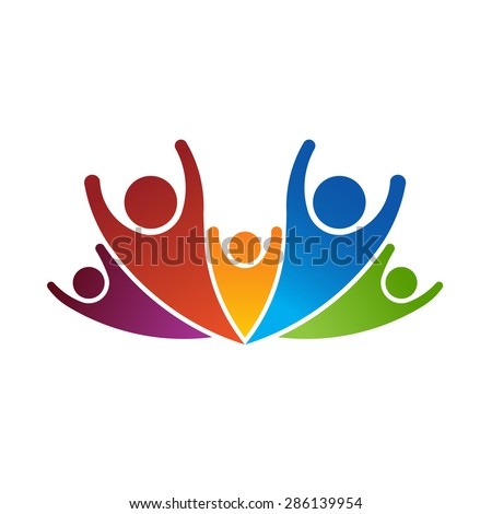 Group of happy people celebrating - stock vector