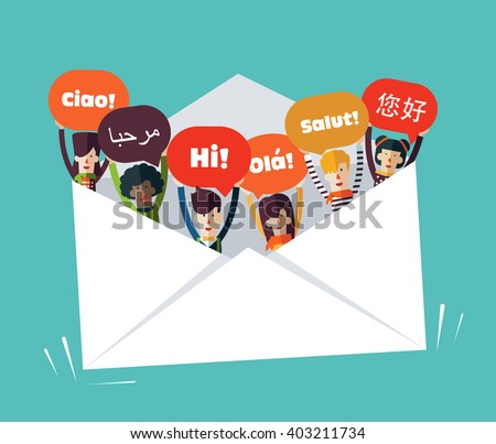 Group of happy smiling young people with speech bubbles in different languages in a big envelope. Male and female faces avatars design style. Communication, teamwork  and connection vector concept - stock vector