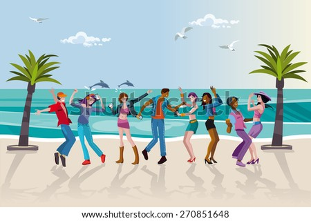 Group of happy young people dancing at the beach. Summer sunset. Vector Illustration. - stock vector