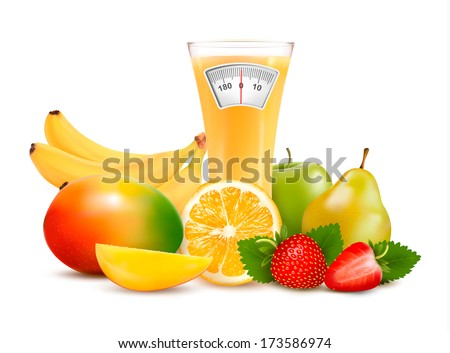 Group of healthy fruit. Diet concept. Vector.