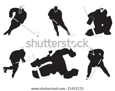 Group of hockey players vector illustration - stock vector