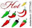 Group of Hot Peppers and Capital H - stock vector