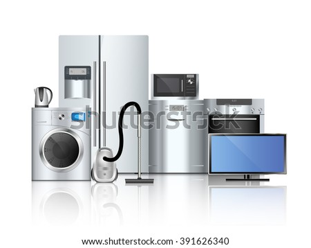 Group of household appliances on a white background - stock vector