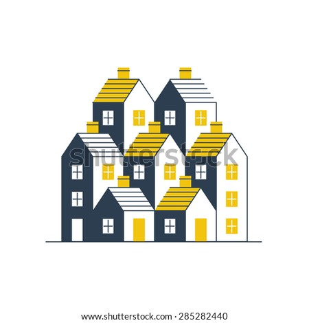 Group of houses. Real estate. Mortgage rate. Building development. - stock vector