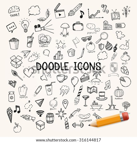 Group of icons, vector doodle objects