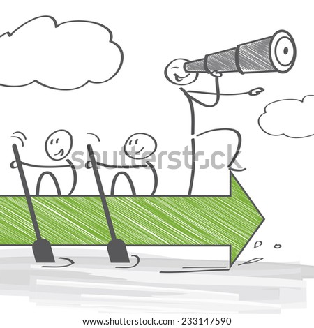 Group of individuals working together to achieve a common goal - stock vector