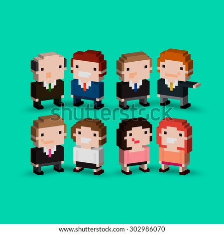 Group of isometric pixel art office characters - stock vector