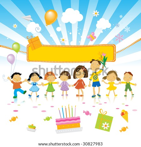 group of kids celebrating, birthday cake and party banner - stock vector