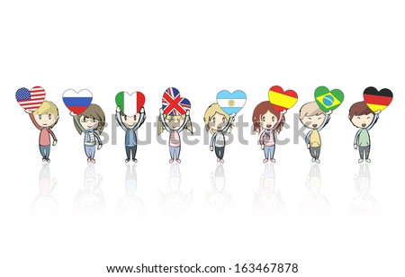 Group of kids holding heart flags, Vector design  - stock vector