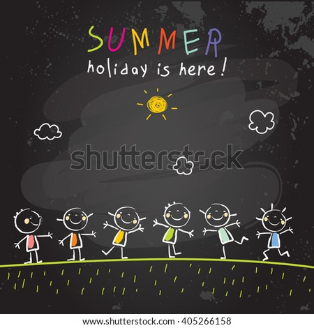 Group of kids in summer vacation, school holiday vector illustration. Children having fun together. Chalk on blackboard sketch, doodle.  - stock vector