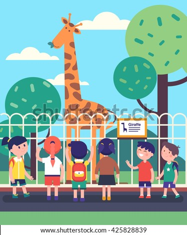 Group Of Kids Watching Giraffe At A Zoo Excursion School Or Kindergarten Students On Filed