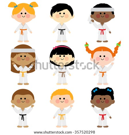 Group of kids wearing martial arts uniforms. - stock vector