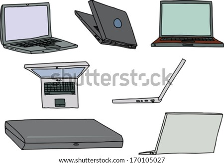 Group of laptop computers in various positions