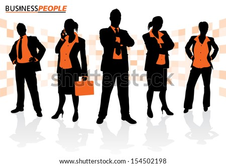 Group of Male and Female Business People. Business People is a new series of business graphics that are updated every month. Each Element is placed on a separate layer for easy to use editing.   - stock vector