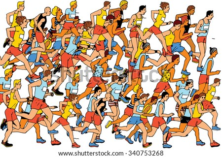 Group of Man Marathon Runners,colors vector - stock vector
